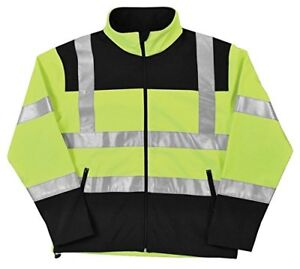 Erb W650 Ansi Class 2 Men s Soft Shell Jacket Hi viz Lime Black Zipper