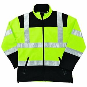 Erb W651 Ansi Class 2 Women s Soft Shell Jacket Hi viz Lime Black Zipper