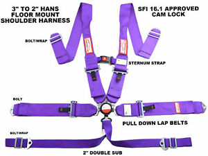 Bolt In 6 Point Racing Harness Hans Shoulders With Sternum Strap Sfi 16 1 Purple