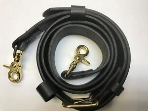 Boston Leather 1 5 Black Leather Firefighter Radio Strap With Gold Hardware