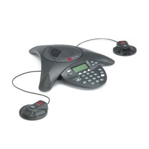 Polycom Soundstation2 Ex Conference Phone 2201 16200 Wall Module 2 Microphones