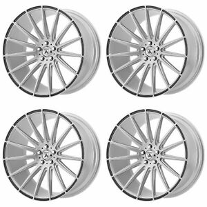 4x Asanti 20x10 5 Abl 14 Polaris Wheels Brushed Silver Carbon Fiber 5x4 5 38