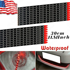 20x 15 Led 30cm Red Waterproof Auto Motorcycle Flexible Light Strip Tape 12v Us