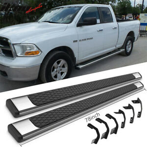Fits 09 18 Dodge Ram Quad Cab 78inch Oe Style Step Bars Running Boards Ss Pair