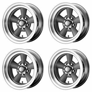 4x American Racing 15x7 Vn309 Tt O Wheels Vintage Silver Machined 5x5 5x127 6mm