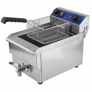 Commercial Restaurant Electric 13l Deep Fryer Stainless Steel Timer Drain Oy