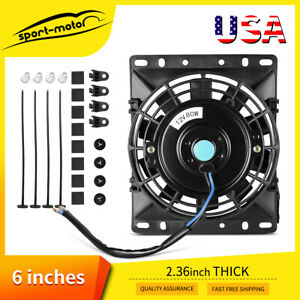 6 8in Electric Radiator Cooling Slim Fan Flush Mount Push Pull Assembly 12v 80w
