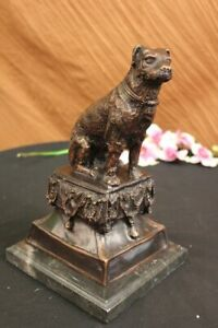 Hand Made Bronze Dog Sclupture On Marble Base Labrador Retriever Statue Gift