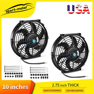 2x10 Inch 1750cfm Universal Push Pull Slim Cooling Fan Electric Radiator Mount