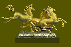 Hand Made Gift 3 Horses Running Playing Bronze 24k Gold Statue Sculpture