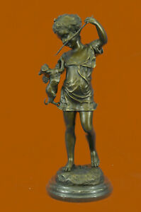 Hand Made Bronze Statue Girl With Cat Hand Made Sculpture Marble Base Figurine