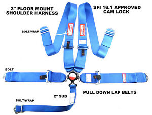 Blue Safety Harness 5 Point 3 Sfi 16 1 Racing Cam Lock Floor Mount Blue