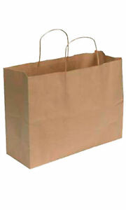 Kraft Paper Shopping Bag Large 16 l X 6 d X 12 h Case Of 100