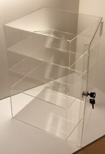 Acrylic Counter Top Display Case 8 x 8 X19 locking Cabinet Showcase Boxes