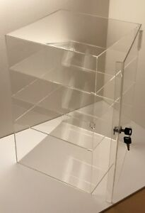 Acrylic Counter Top Display Case 9 5 X 9 5 X 19 locking Cabinet Showcase Boxes