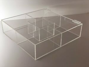 Acrylic Square Counter Top Display Case Sectional Box 18 X 18 x 4 Acrylic Tray