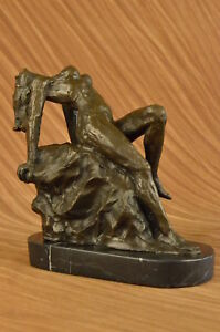 Hand Made Bronze Statue Nude Lady Female Rodin French Figure Signed Home Art