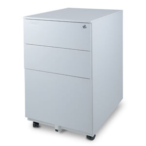 Aurora Modern Soho Design 3 drawer Metal Mobile File Cabinet With Lock Key