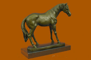 Hand Made 13 Lbs Mene Racing Horse Stallion Bronze Sculpture Hot Cast Figure Ug