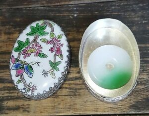 Chinese Porcelain Silver Plated Shard Box Trinket Flowers And Butterfly W Lucky