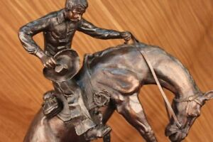 Hand Made Bronze Sculpture Huge Bronco Buster Cowboy On Horse Figurine Ug