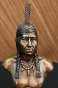 Hand Made Indian Native American Art Chief Eagle Bust Marble Base Statue Ug