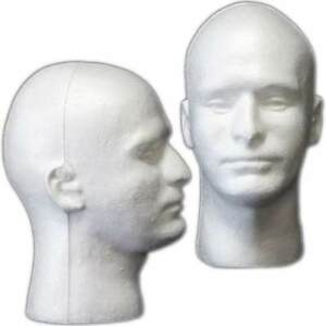 2 X Styrofoam Foam Mannequin Wig Head Display Hat Cap Wig Holder White Foam Head