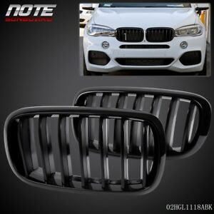 For 2014 2016 Bmw X5 F15 Left Right Gloss Black Front Kidney Grille Grill