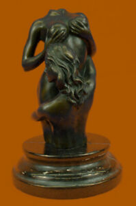 Hand Made Modern Art Two Nude Female Bronze Sculpture Marble Base Figurine
