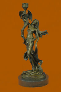 Hand Made Bronze Sculpture Museum Quality Candleholder Sexy Woman Statue Ug