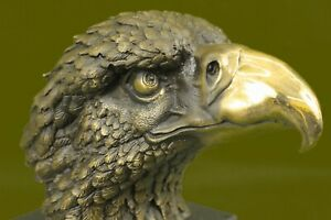 Hand Made Bald American Eagle Bust Bronze Sculpture On Marble Base Figurine Ug