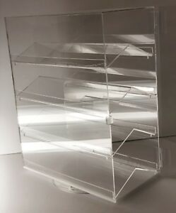 Acrylic Counter Top Locking Jewelry Display Case 4 Shelves Single Door
