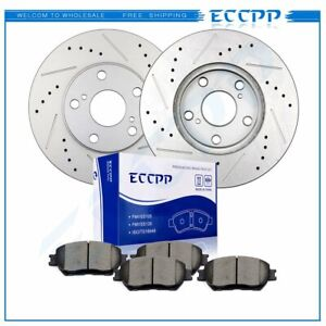 2x Front Brake Rotors 4x Ceramic Pads Drilled Slotted For 02 06 Toyota Camry