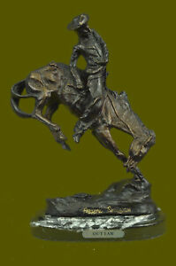 Hand Made Bronco Buster Frederic Remington Bronze Statue Cowboy Horse Sculpture