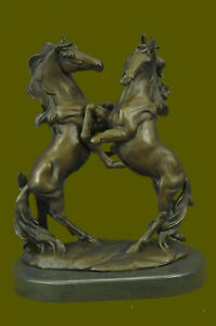 Hand Made Two Rearing Horses Bronze Sculpture Hot Cast Horse Farm Racing Figure
