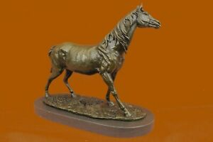 Hand Made Bronze Sculpture Tro Horse Racing Stallion Art Modern Abstract Ug