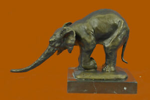 Hand Made Signed Bugatti Animal Kingdom Mother Elephant Bronze Sculpture Statue
