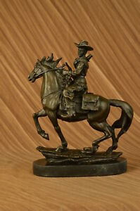 Hand Made Bronze Sculpture Dec Ranch Marble Horse Cowboy Western Country Ug