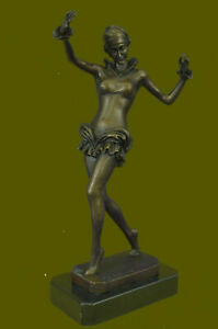 Hand Made Nouveau Chiparus Style Bronze Sculpture Dancer Marble Base Figurine