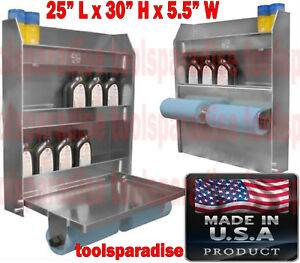 Auto Garage Trailer Wall Mount Aluminum Organizer Foldable Tray Shelves Cabinet