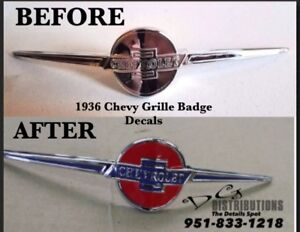 1936 Chevy Sedan Delivery Convertible Master Deluxe Standard Grille Emblem Decal