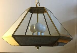 Vintage Mid Century Modern 1970s Mirrored Hexagon Milo Baughman Era Swag Lamp