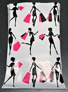Pick Quantity 1 2000 10x13 Cute Fun Black Pink Shopping Styled Poly Mailer Bag