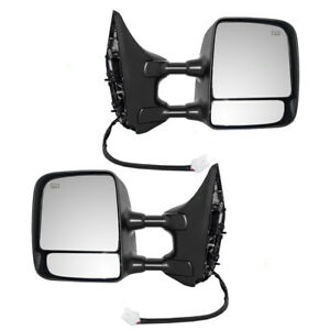 Set Of Tow Side Power Mirrors Heated Telescopic Dual Arms For 04 15 Nissan Titan
