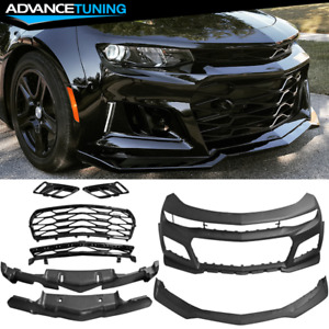Fits 16 18 Chevrolet Camaro Front Bumper Cover Zl1 Style Black Pp