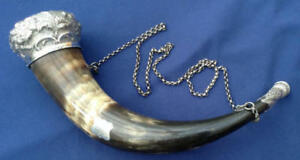 Colossal Silver Mounted Scottish Victorian Antique Scotland Powder Horn Flask