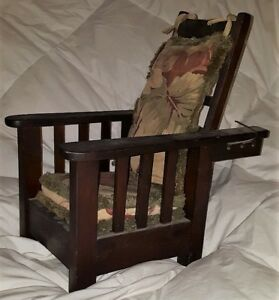 Antique Salesman Sample Stickley Morris Arts Crafts Vintage Reclining Wood Chair