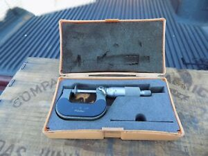 Mitutoyo 0 1 001 Flange Disc Micrometer No 123 125a With Case made In Japan