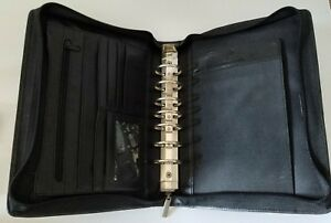Stone Mountain Black Leather Planner Organizer Binder Rings Zip Around Euc