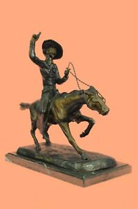 Frederic Remington The Cowboy Pure Bronze Sculpture Statue 14 Tall X 16 W F